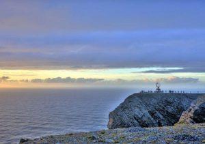 Départ de l'EuroVelo 7 au Cap Nord, Norvège