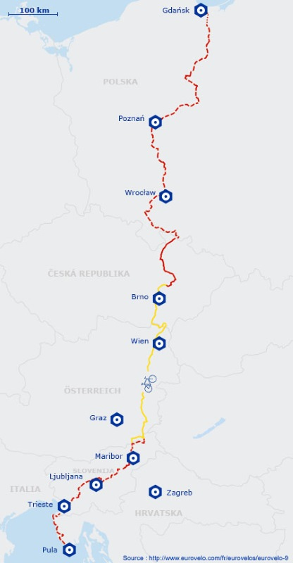 Itinéraire de l' EuroVelo 9