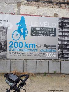 Affiche des aménagements cyclables par Denis lors de ses vacances à vélo