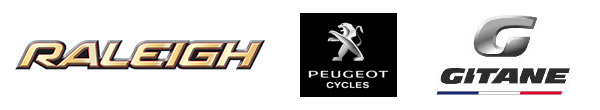 Logos des marques Raleigh, Peugeot Cycles et Gitane