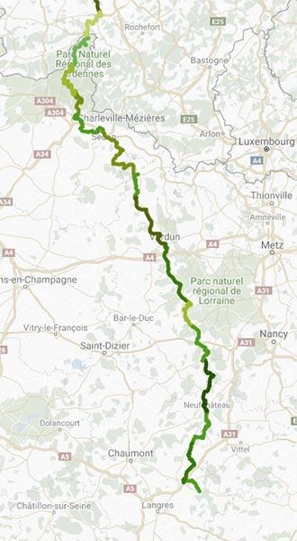 Itinéraire de la Meuse à vélo