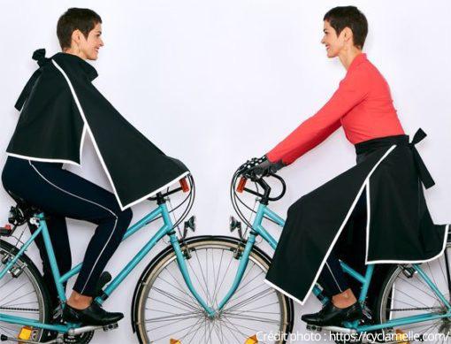 Michèle sur son vélo avec tenues Cyclamelle