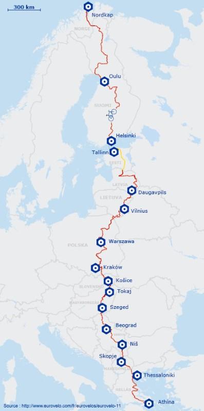 Itinéraire de l'EuroVelo 11, véloroute de l'Europe de l'Est