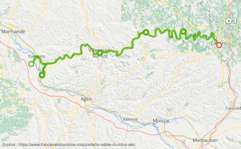 Carte de l'itinéraire de la véloroute de la vallée du Lot
