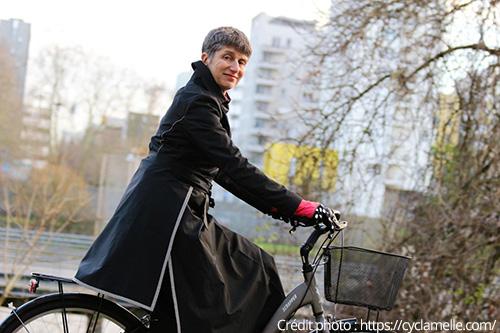 Michèle de Cyclamelle sur son vélo
