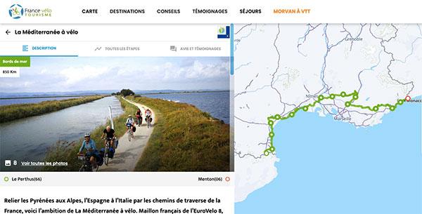 Capture d'écran du nouveau site web de la véloroute