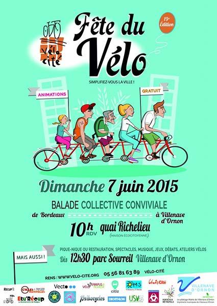 L'affiche de la Fête du Vélo 2015 à Bordeaux