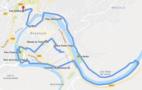 Besançon à vélo, itinéraire