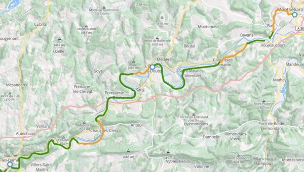 Itinéraire de l'étape du Doubs à vélo Baume-les-Dames à Montbéliard