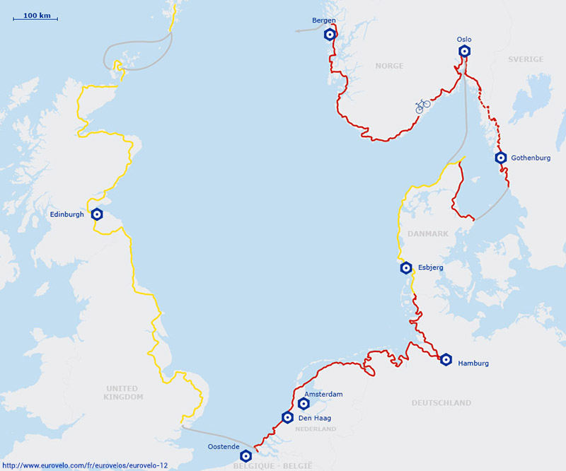 Carte itinéraire de la véloroute de la Mer du Nord EuroVelo 12