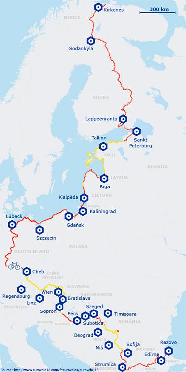 Carte de l'itinéraire de l'EuroVelo 13