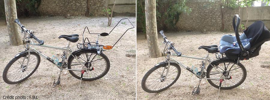 Vélo avec le support et le cosy