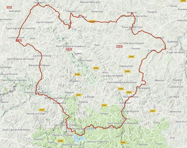 Carte de l'itinéraire du Tour de Creuse à vélo