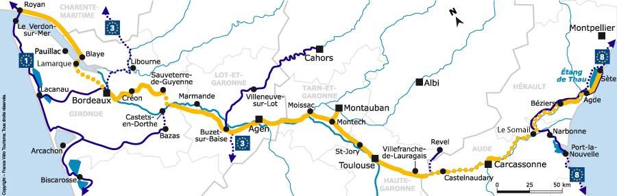 Carte de l'itinéraire du Canal des 2 Mers à vélo