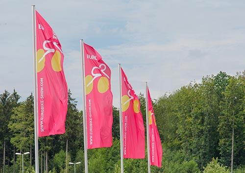 Les drapeaux au couleur du salon Eurobike