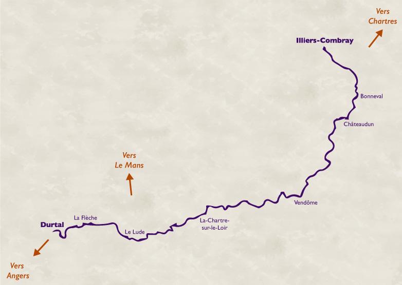 Carte de l'itinéraire de la Vallée du Loir à vélo