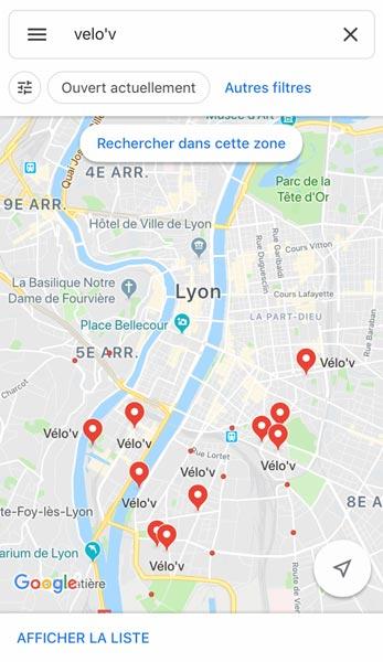 La cartes des stations vélo'v à Lyon