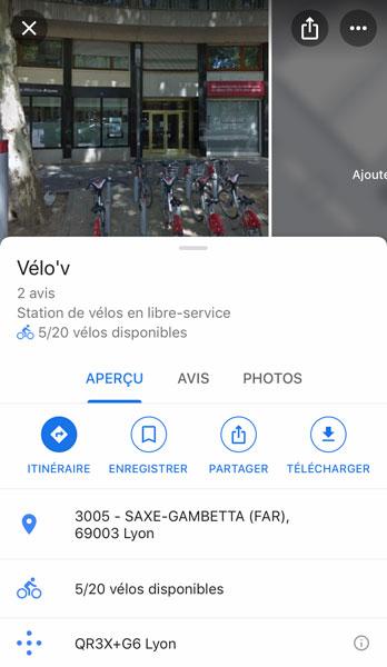 Détail d'une station Velo'v sur Google Maps