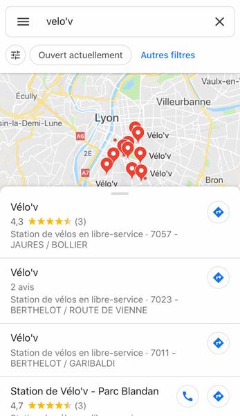 L'application cartographique de Google affiche les stations Velo'v