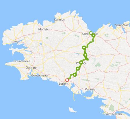 Carte de l'itinéraire de la Voie 8