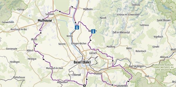 Carte itinéraire de la véloroute des Trois Pays