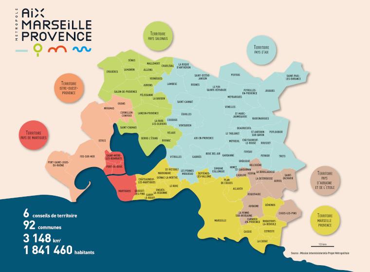 Carte Aix Marseille Métropole