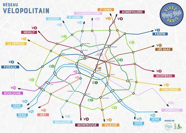 Le réseau express vélo, une proposition des assosciations vélo pour les élections municipales 2020 Paris