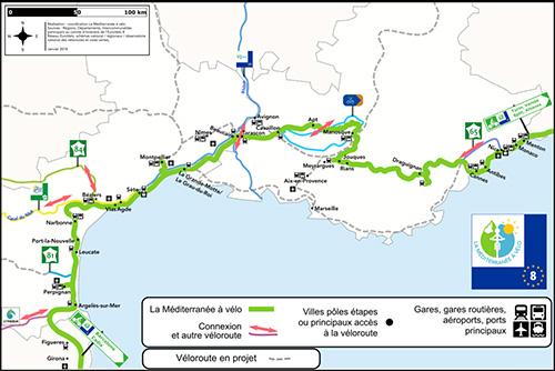Carte de l'itinéraire La Méditerranée à vélo