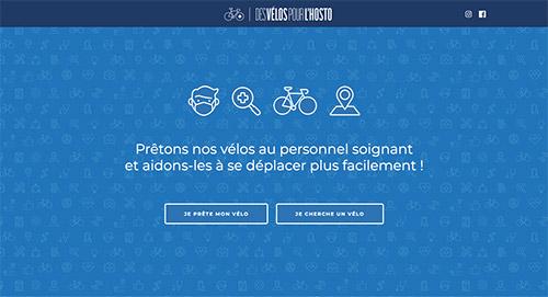 Page d'acceuil de la plateforme web Des vélos pour l'hosto