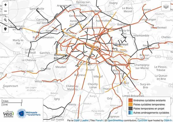 Carte des aménagements cyclables provisoires à Paris