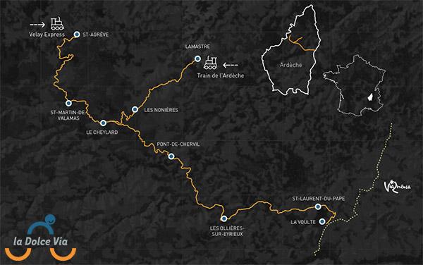 Carte itinéraire de la Dolce Via