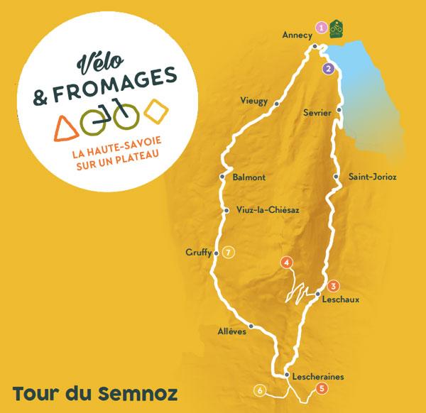 Carte Tour du Semnoz sur la Route des Fromages de Savoie