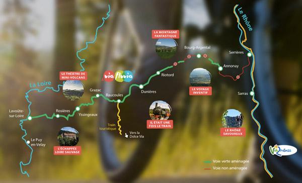 Carte de l'itinéraire Via Fluvia