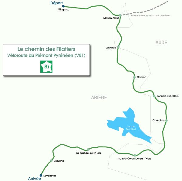 Carte de l'itinéraire Chemin des Filatiers à vélo