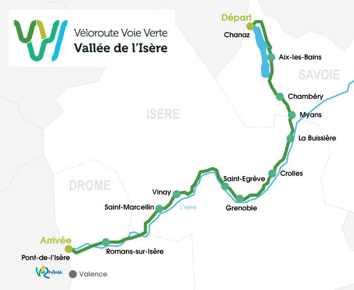 Carte itinéraire de la Vallée de l'Isère à vélo