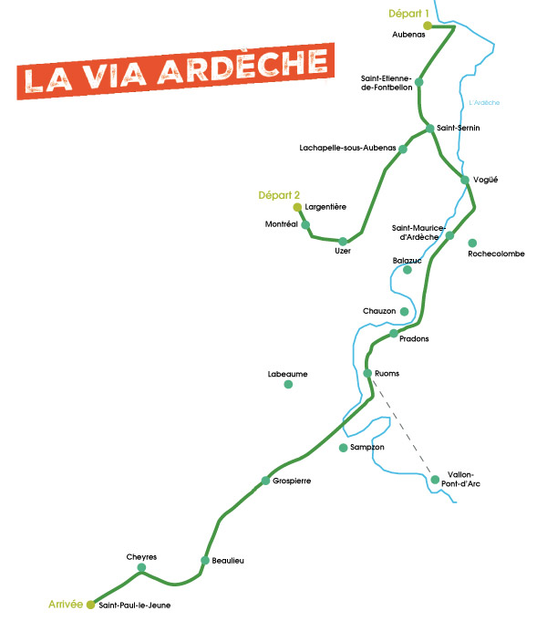 Itinéraire détaillé Via Ardèche