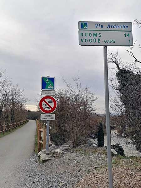 Signalisation de la Via Ardèche