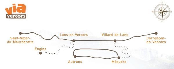 Carte itinéaire de la Via Vercors