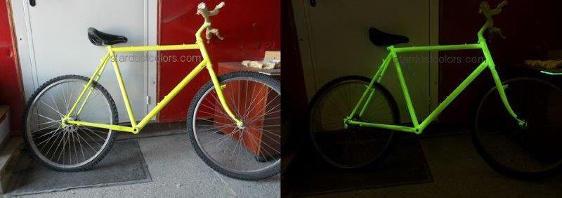 peinture phosphorescente de jour sur vélo