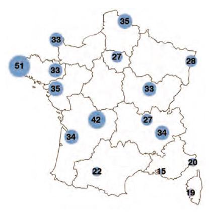 Carte des jours de pluie en vélotaf en France