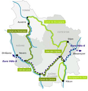 carte du tour de Bourgogne à vélo